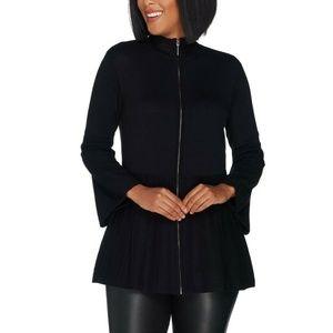 H By Halston Bell Sleeve Sweater Cardigan Black L